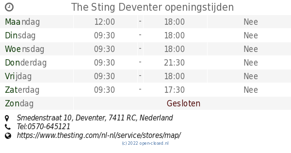 244626cd8f8442 The Sting Deventer openingstijden