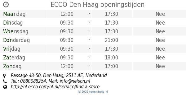ECCO Den Haag openingstijden, Passage 48 50