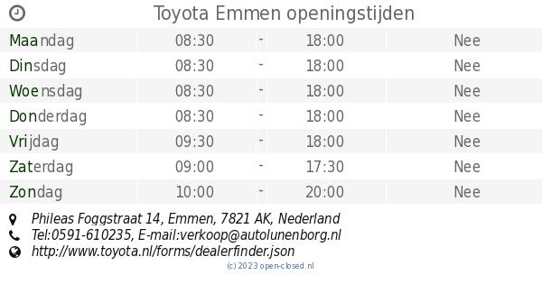 Toyota Emmen Openingstijden Phileas Foggstraat 14