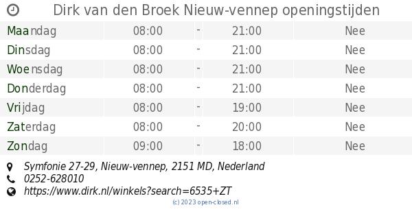 Dirk Van Den Broek Nieuw Vennep Openingstijden Symfonie 27 29