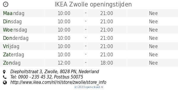 Ikea Zwolle Openingstijden Diepholtstraat 3